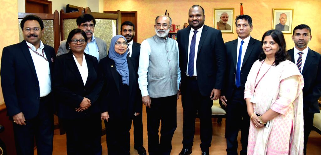 Maldives Tourism Minister Ali Waheed meets Union MoS Tourism Alphons Kannanthanam, in New Delhi, on Feb 22, 2019. - Ali Waheed
