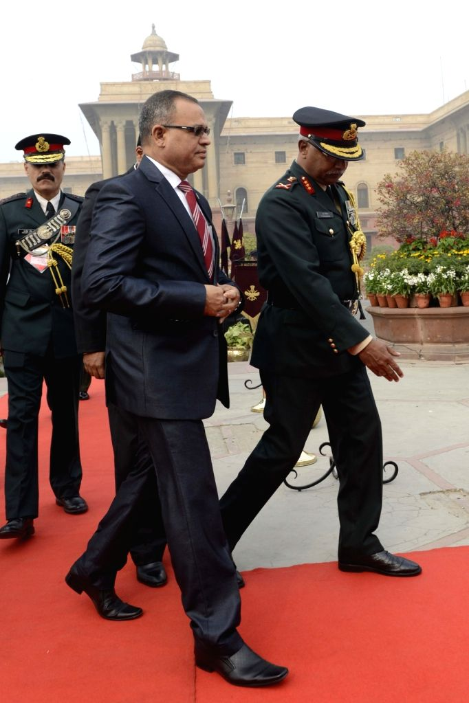 Maldivian Defence Minister Adam Shareef at Ministry of Defence in New Delhi, on Jan 19, 2016. - Adam Shareef
