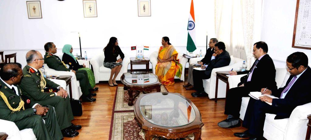 Maldivian Defence Minister Mariya Ahmed Didi meets Defence Minister Nirmala Sitharaman in New Delhi, on Jan 24, 2019. - Mariya Ahmed Didi