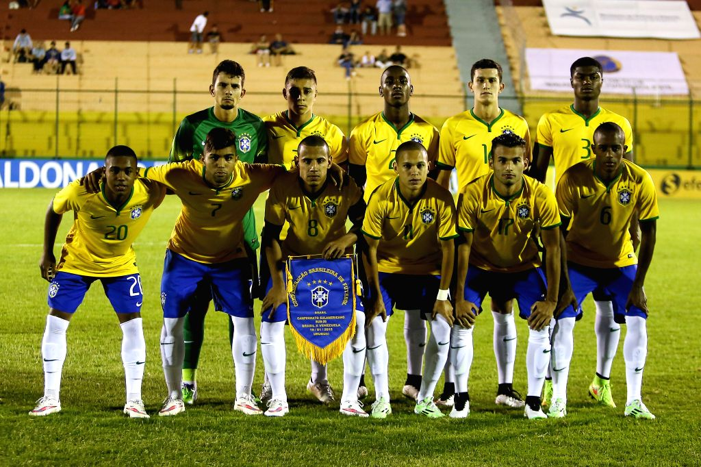 Brazilian players pose for a photo prior to a South American U-20 football match between Brazil and Venezuela in Maldonado, Uruguay, on Jan. 19, 2015. Brazil won .
