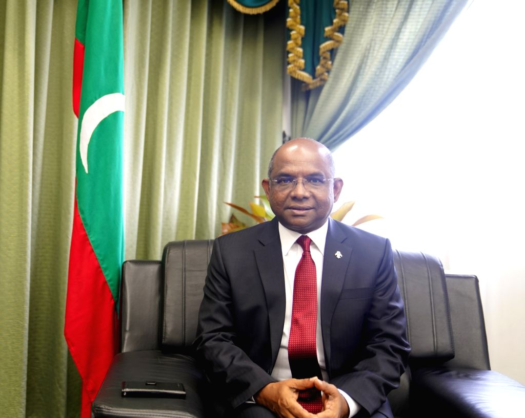 MALE, Dec. 27, 2018 (Xinhua) -- Maldivian Foreign Minister Abdulla Shahid is seen during an interview with Xinhua in Male, Maldives, Dec. 27, 2018. The Maldives' new government is looking forward to strengthening ties with China, Maldivian Foreign Mi - Abdulla Shahid
