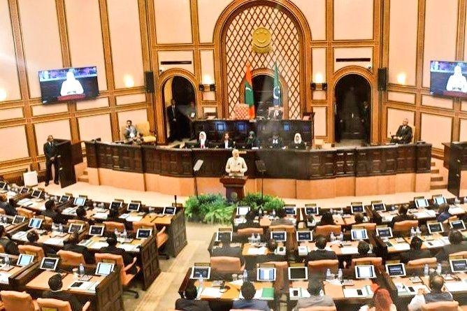 Male: Prime Minister Narendra Modi addresses at Maldives Parliament, People's Majlis in Male on June 8, 2019. (Photo: IANS/MEA) - Narendra Modi