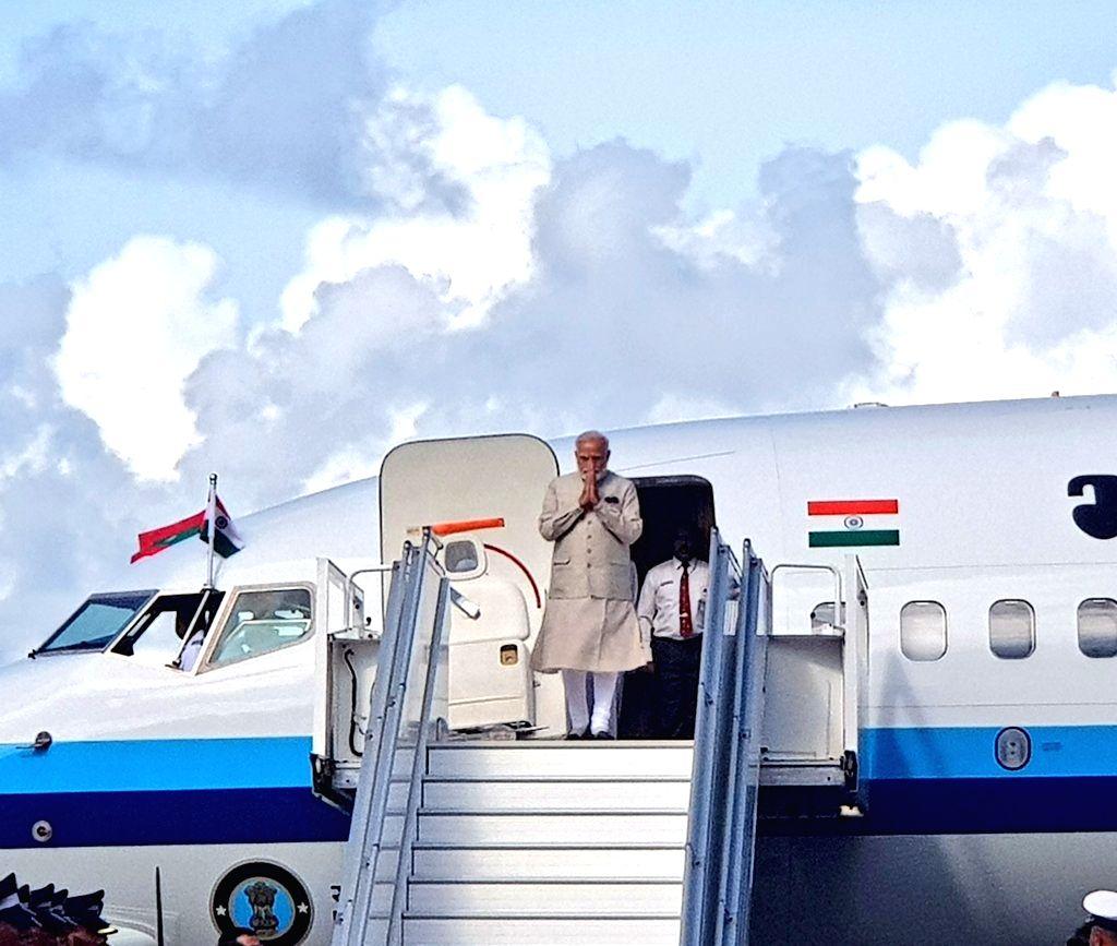 Male: Prime Minister Narendra Modi arrives in Male, Maldives on June 8, 2019. (Photo: IANS/MEA) - Narendra Modi