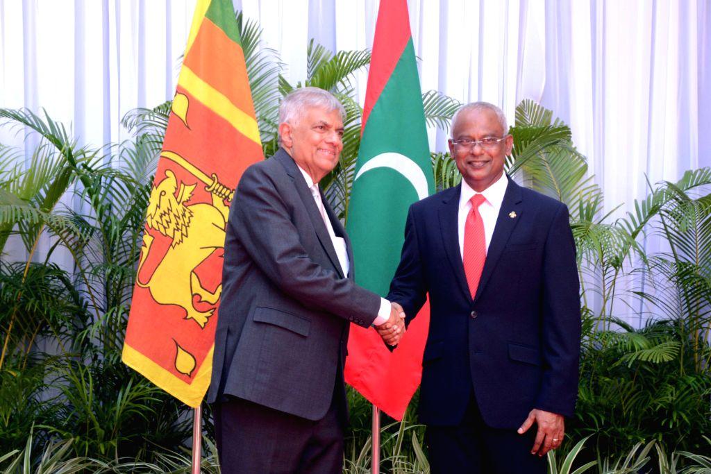 MALE, Sept. 2, 2019 - Maldives President Ibrahim Mohamed Solih (R) welcomes Sri Lankan Prime Minister Ranil Wickremesinghe in Male, Maldives, on Sept. 2, 2019. Sri Lankan Prime Minister Ranil ... - Ranil Wickremesingh