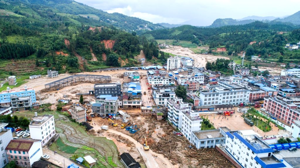 MALIPO, Sept. 3, 2018 - Aerial photo taken on Sept. 3, 2018 shows the flood-hit Mengdong Township in Malipo County of Zhuang and Miao Autonomous Prefecture of Wenshan, southwest China's Yunnan ...