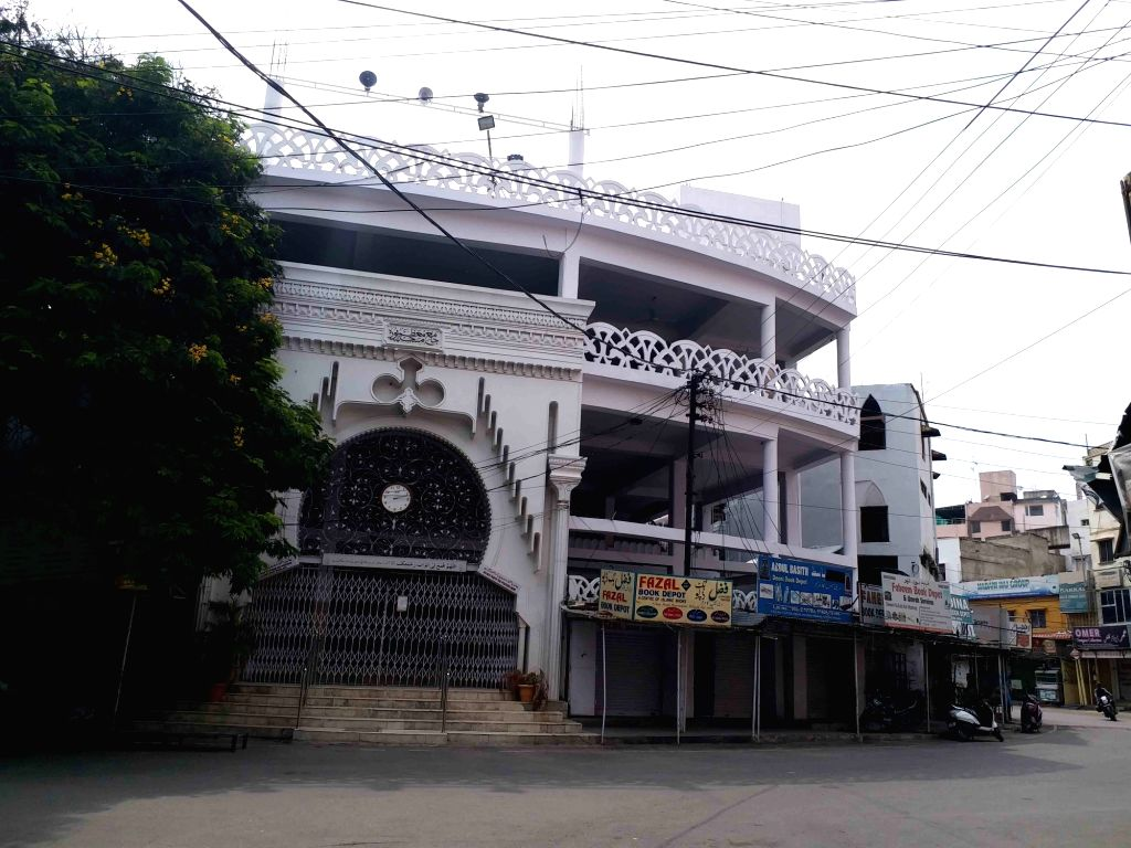 Mallepally Badi Masjid bears a deserted look during the extended nationwide lockdown imposed to mitigate the spread of coronavirus, in Hyderabad on May 8, 2020.