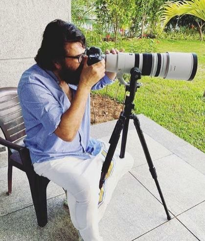 Mammooty turns photographer for his 'morning guests'.