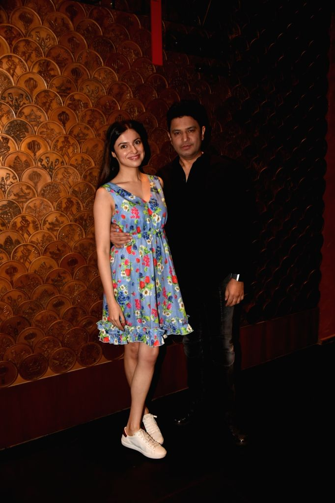 Managing Director of T-Series Bhushan Kumar along with his wife Divya Khosla Kumar at producer Tanuj Garg's birthday party in Mumbai on Dec 5, 2017. - T-Series Bhushan Kumar and Divya Khosla Kumar