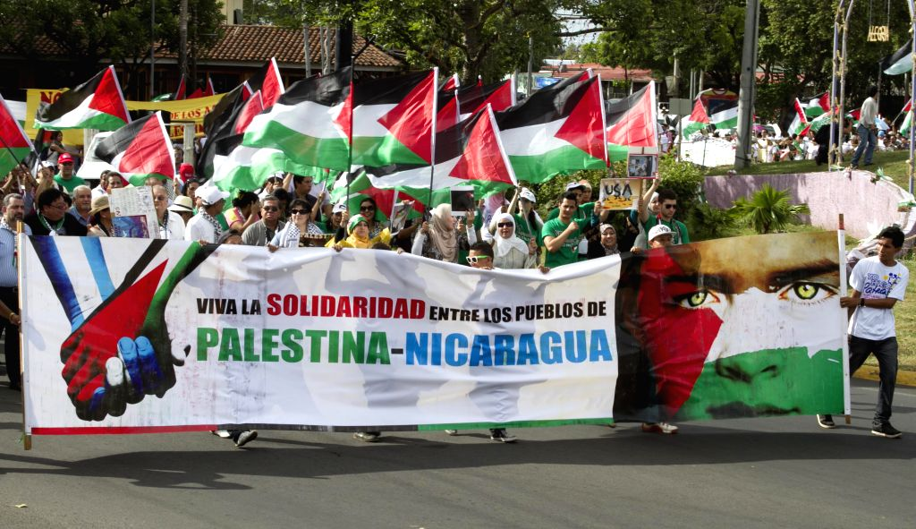 People take part in a march against the Israeli airstrikes on Gaza, in Managua, Nicaragua, on July 14, 2014. Last Tuesday, Israel launched an all-out aerial ...