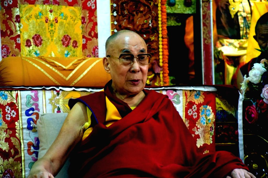 Manali: Tibetan spiritual leader Dalai Lama at Neri Gompa in Manali. (Photo: IANS)