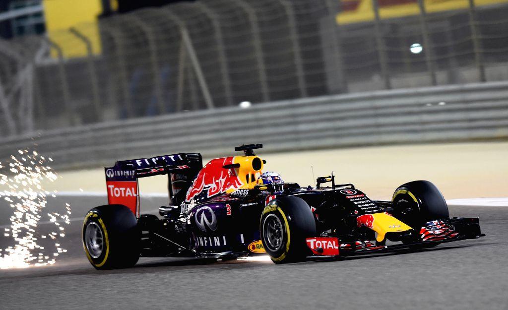 Red Bull driver Daniel Ricciardo of Australia drives during the second free practice ahead of Bahrain's F1 Grand Prix at Bahrain International Circuit, south of ...