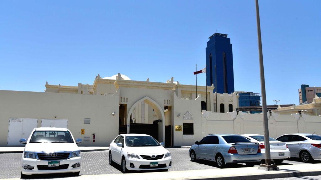 MANAMA, June 5, 2017 (Xinhua) -- Photo taken on June 5, 2017 shows the Embassy of Qatar in Manama, Bahrain. Bahrain announced Monday it cut ties with Qatar, accusing the country of disturbing its security and stability, according to the Bahrain News
