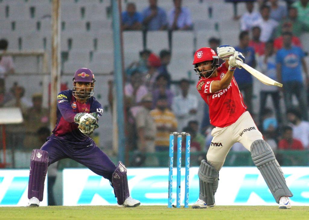 Manan Vohra of Kings XI Punjab in action during an IPL match between Kings XI Punjab and Rising Pune Supergiants at Punjab Cricket Association IS Bindra Stadium in Mohali on April 17, ...