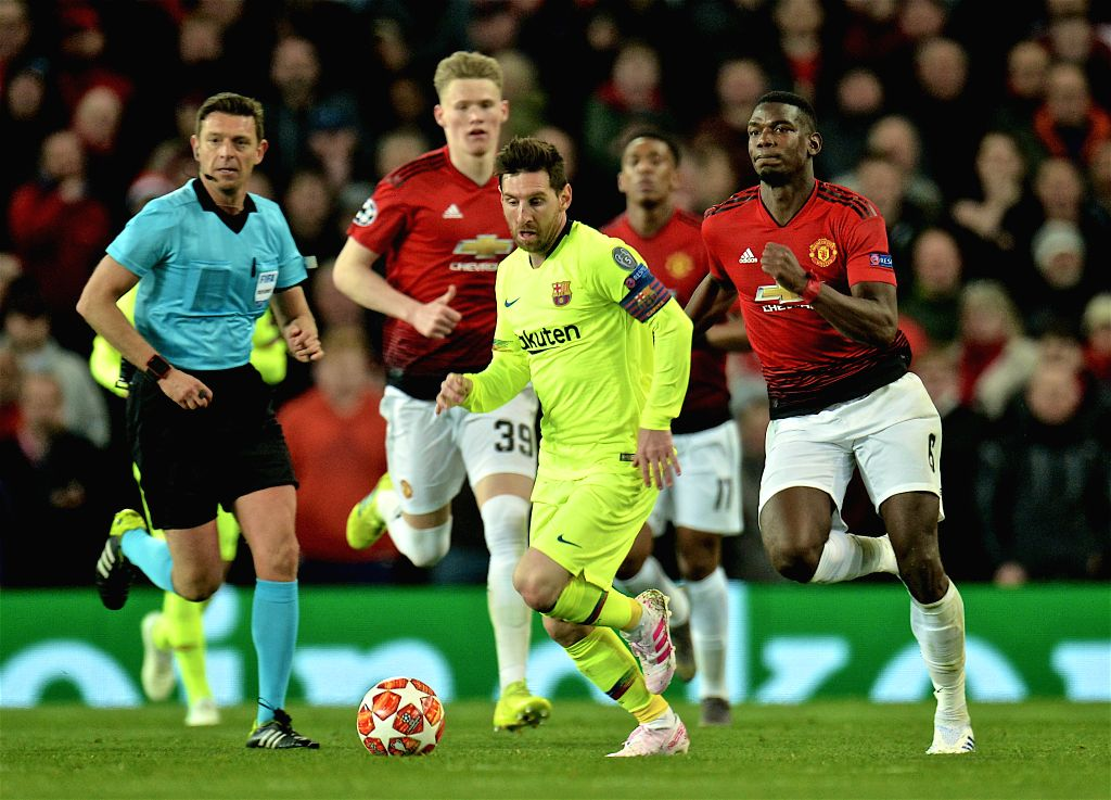 MANCHESTER, April 11, 2019 - Barcelona's captain Lionel Messi (front) controls the ball during the UEFA Champions League Quarter-Final first leg match between Manchester United and FC Barcelona at ... - Lionel Messi