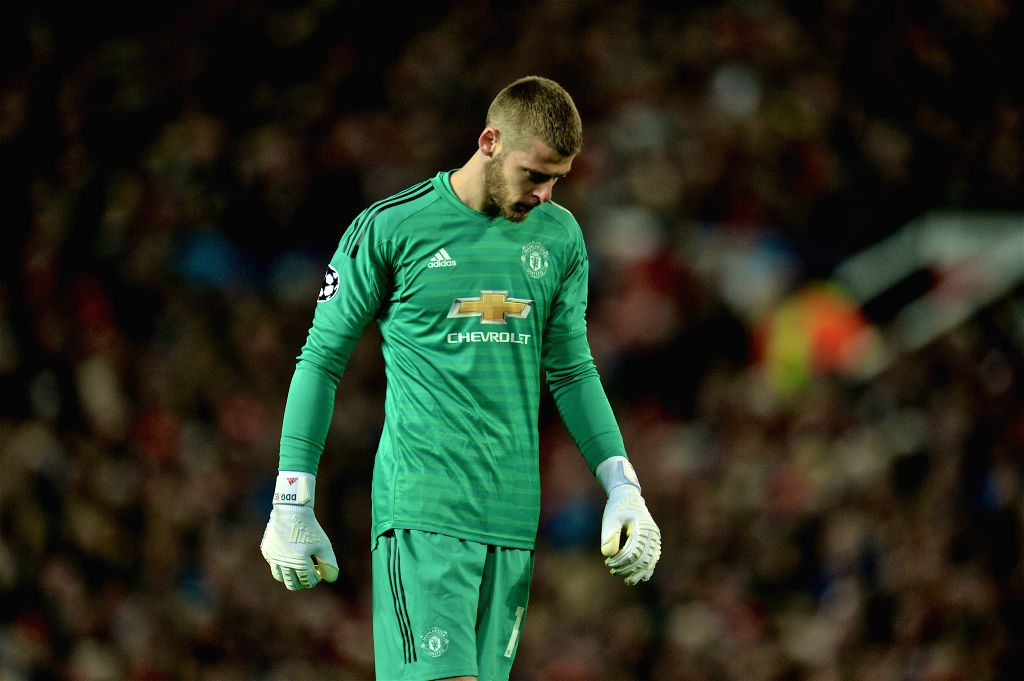 MANCHESTER, April 11, 2019 - Manchester United's goalkeeper David de Gea looks dejected during the UEFA Champions League Quarter-Final first leg match between Manchester United and FC Barcelona at ...