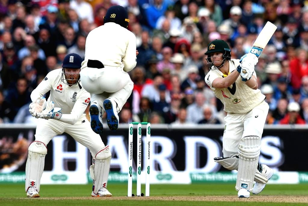 Manchester: Australia's Steve Smith in action on Day 1 of the 4th Test match between Australia and England at Old Trafford, in Manchester on Sep 4, 2019. (Photo: Twitter/@ICC)