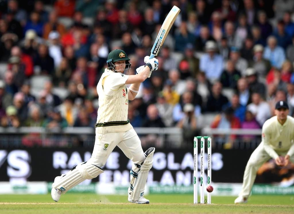 Manchester: Australia's Steve Smith in action on Day 2 of the 4th Test match between Australia and England at Old Trafford, in Manchester on Sep 5, 2019. (Photo: Twitter/@ICC)