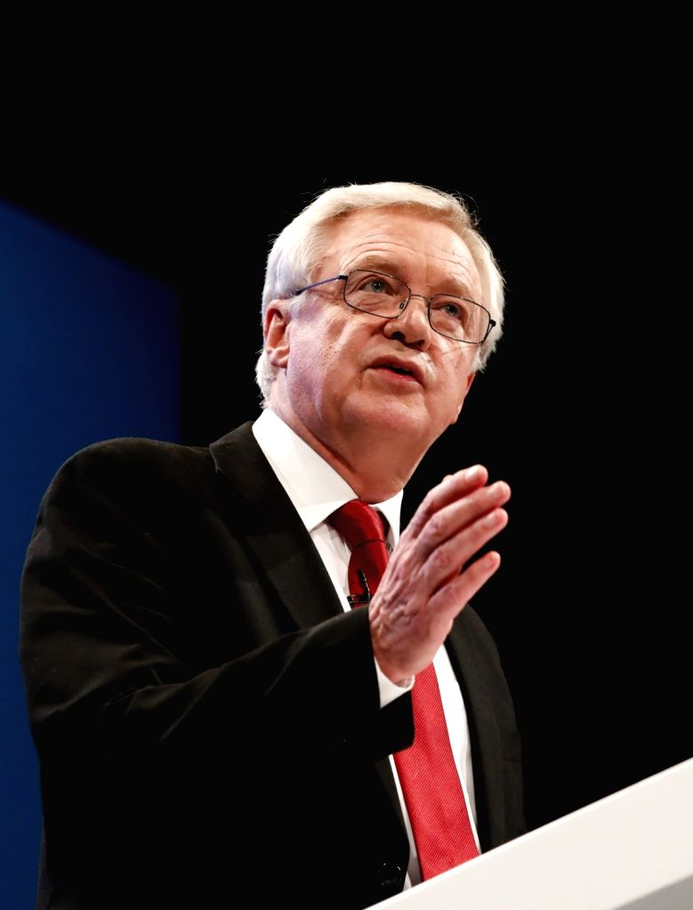 MANCHESTER (BRITAIN), Oct. 3, 2017 British Brexit Secretary David Davis delivers his keynote speech at the Conservative Party's annual conference in Manchester, Britain, on Oct. 3, 2017. ...