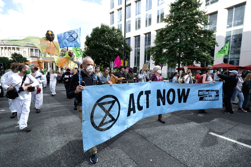 Manchester (BRITAIN), Sept. 1, 2020 Protesters take part in an Extinction Rebellion demonstration in central Manchester, Britain, on Sept. 1, 2020. According to the plan of environmental ...