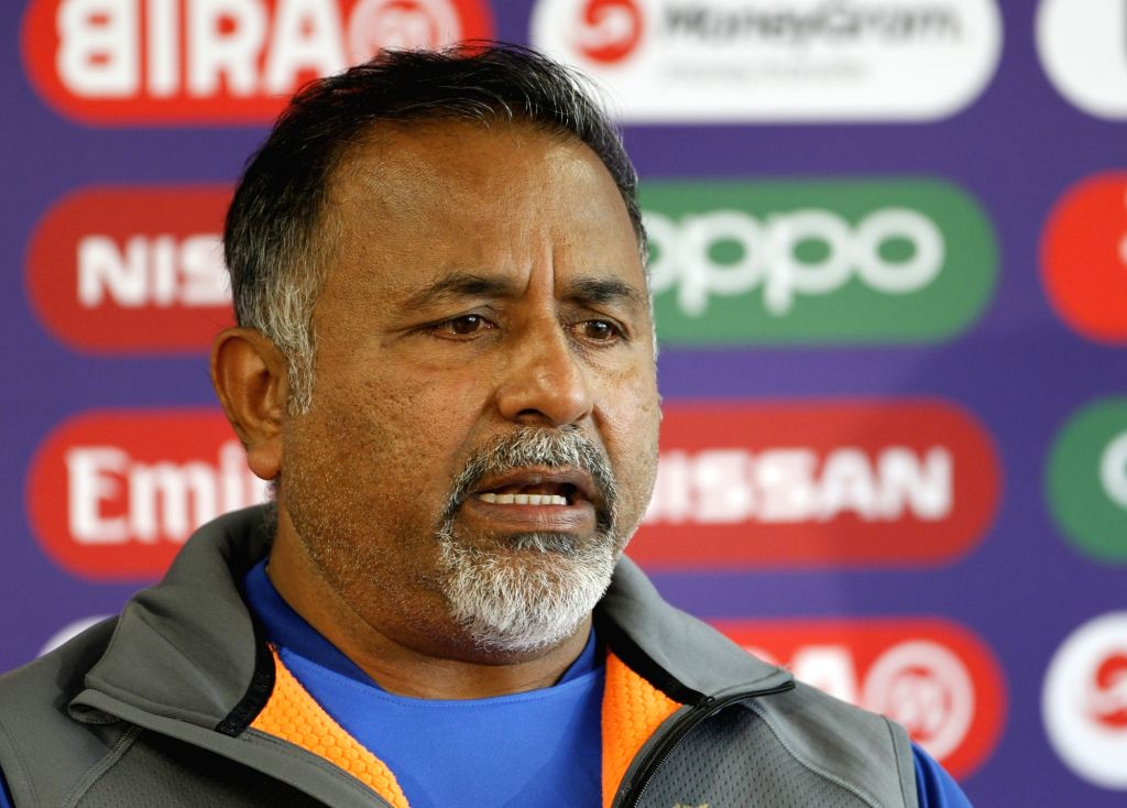 Manchester: India's bowling coach Bharath Arun addresses a press conference on the eve of their World Cup 2019 match against West Indies at Old Trafford in Manchester, England on June 26, 2019. (Photo: Surjeet Yadav/IANS) - Surjeet Yadav