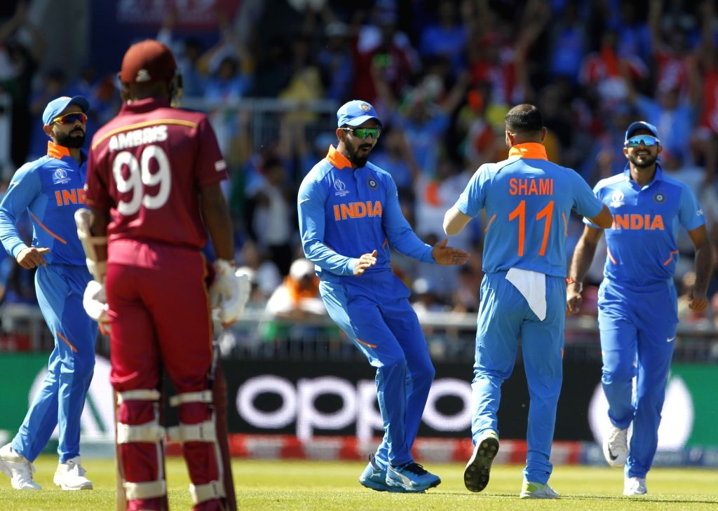 Manchester: India's Mohammed Shami celebrates fall of Shai Hope's wicket during World Cup 2019 match between India and West Indies at Old Trafford in Manchester, England on June 27, 2019. (Photo: Surjeet Yadav/IANS) - Surjeet Yadav