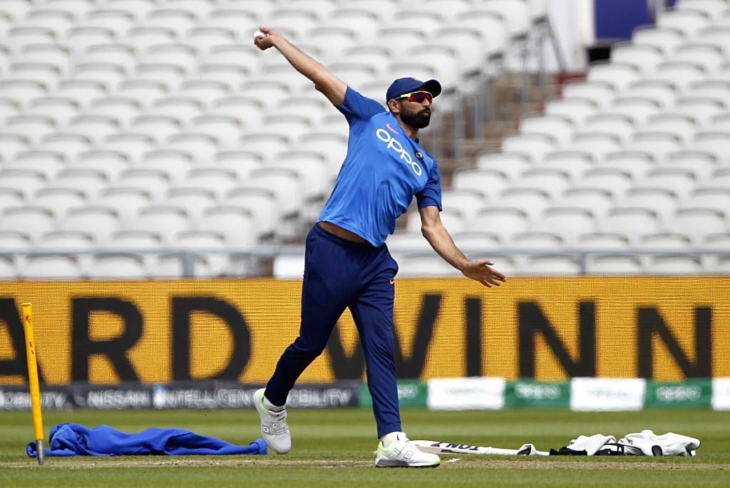 Manchester: India's Mohammed Shami during a practice session on the eve of their World Cup 2019 match against West Indies at Old Trafford in Manchester, England on June 26, 2019. (Photo: Surjeet Yadav/IANS) - Surjeet Yadav