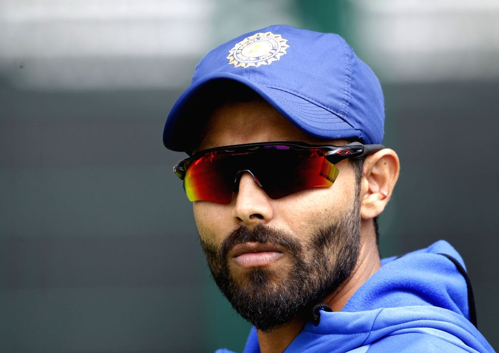 Manchester: India's Ravindra Jadeja during a practice session on the eve of their World Cup 2019 match against West Indies at Old Trafford in Manchester, England on June 26, 2019. (Photo: Surjeet Yadav/IANS) - Ravindra Jadeja and Surjeet Yadav
