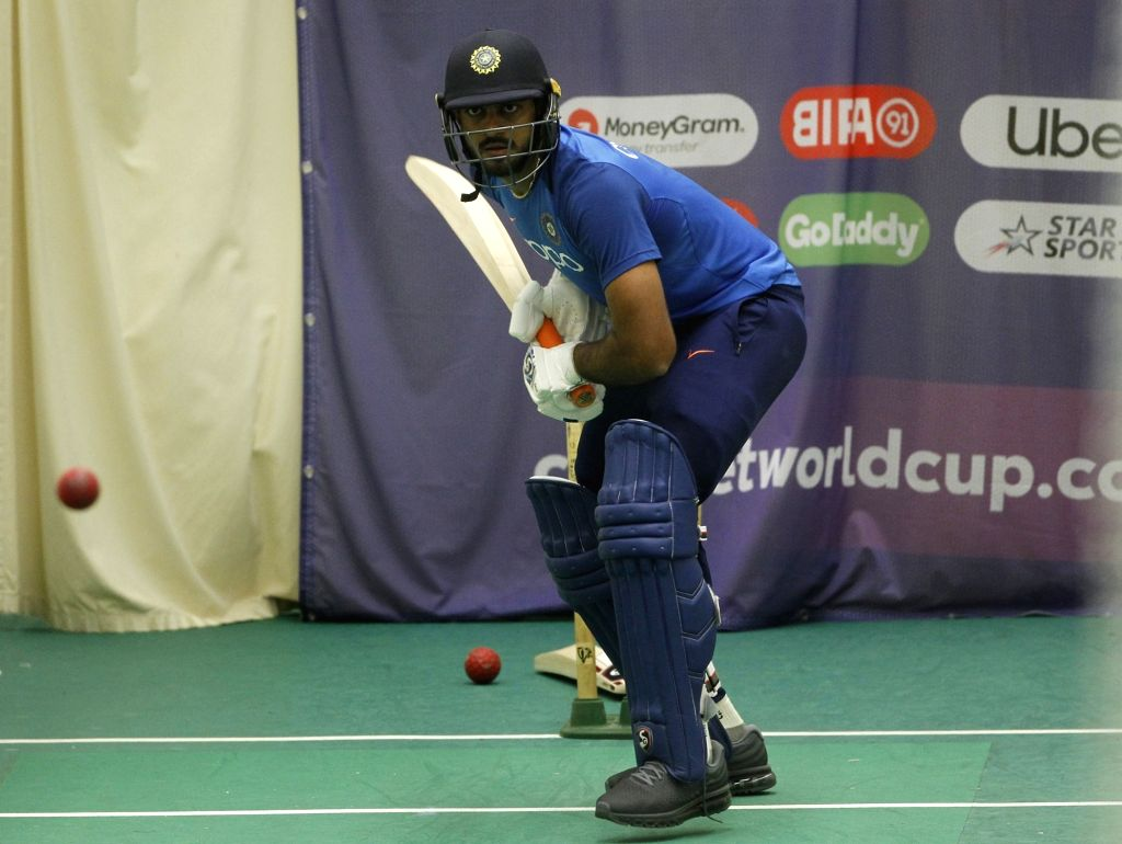 Manchester: India's Vijay Shankar during a practice session ahead of the World Cup 2019 match against West Indies at Old Trafford Stadium in Manchester, England on June 25, 2019. (Photo: Surjeet Yadav/IANS) - Surjeet Yadav