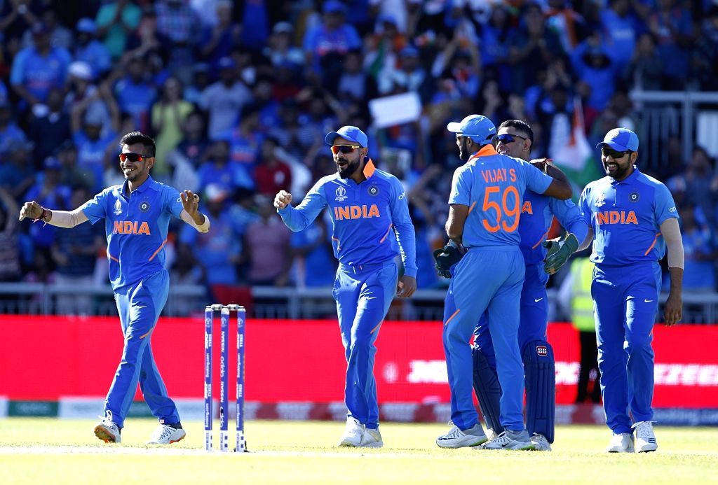 Manchester: India's Virat Kohli celebrates fall of Carlos Brathwaite's wicket during World Cup 2019 match between India and West Indies at Old Trafford in Manchester, England on June 27, 2019. (Photo: Surjeet Yadav/IANS) - Virat Kohli and Surjeet Yadav