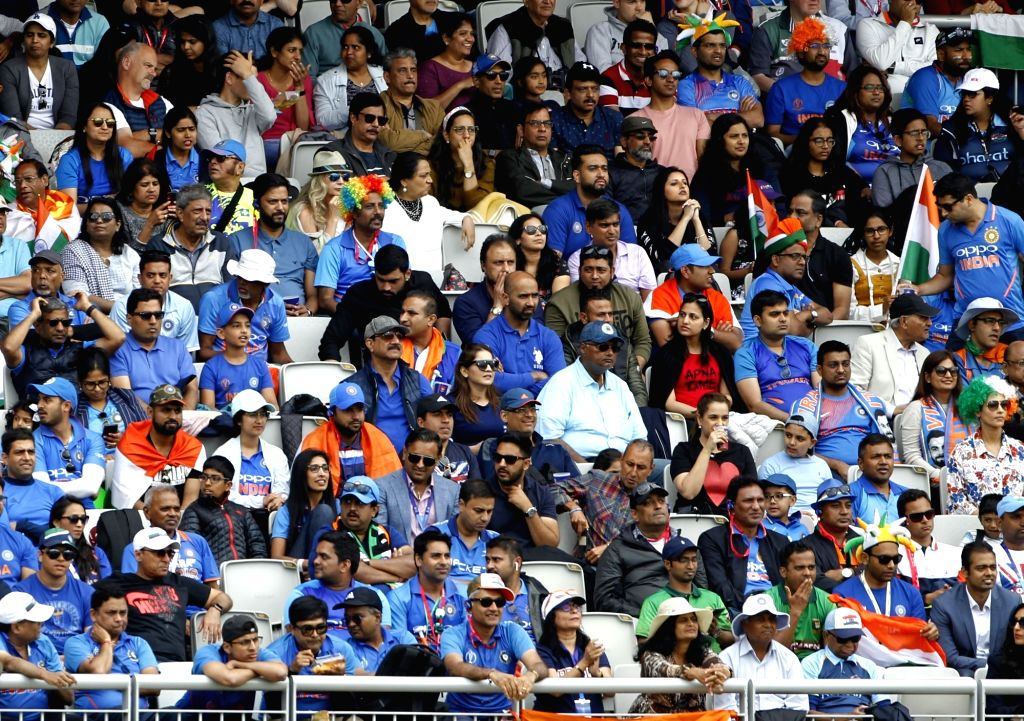 Manchester: Indian fans during the 1st Semi-final match of 2019 World Cup between India and New Zealand at Old Trafford in Manchester, England on July 10, 2019. (Photo: Surjeet Kumar/IANS) - Surjeet Kumar