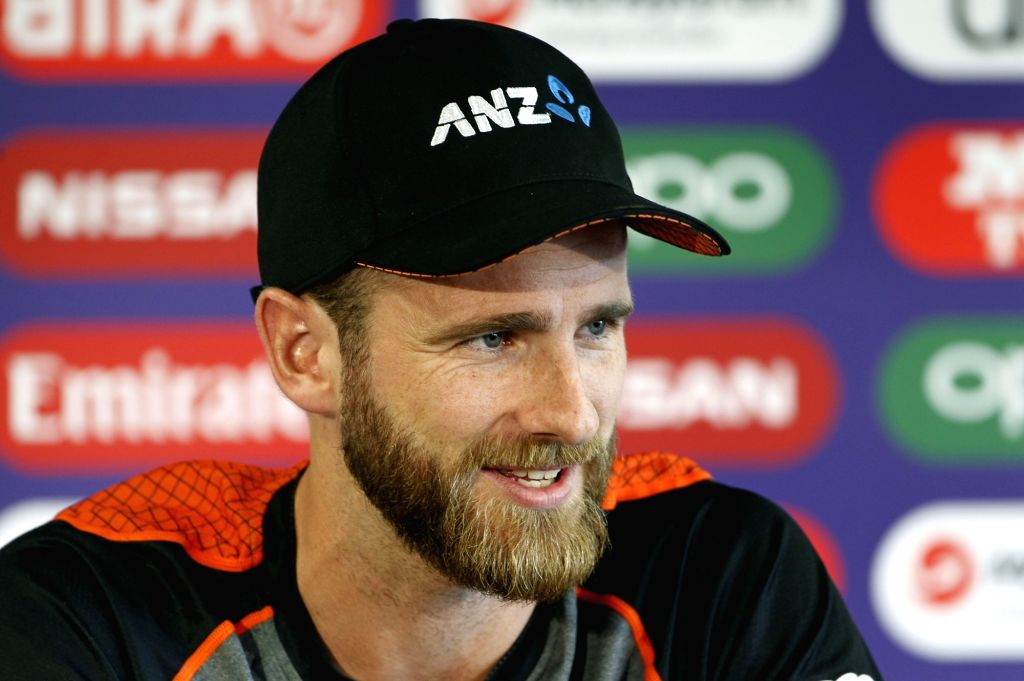 Manchester: New Zealand captain Kane Williamson addresses a press conference ahead of their World Cup 2019 semi-final match against India at Old Trafford in Manchester, England on July 8, 2019. (Photo: Surjeet Yadav/IANS) - Kane Williamson and Surjeet Yadav