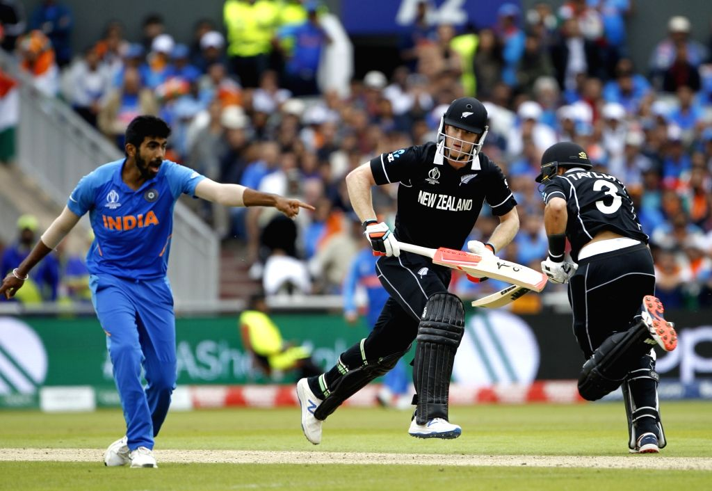 Manchester: New Zealand's James Neesham in action during the 1st Semi-final match of 2019 World Cup between India and New Zealand at Old Trafford in Manchester, England on July 9, 2019. (Photo: Surjeet Kumar/IANS) - Surjeet Kumar
