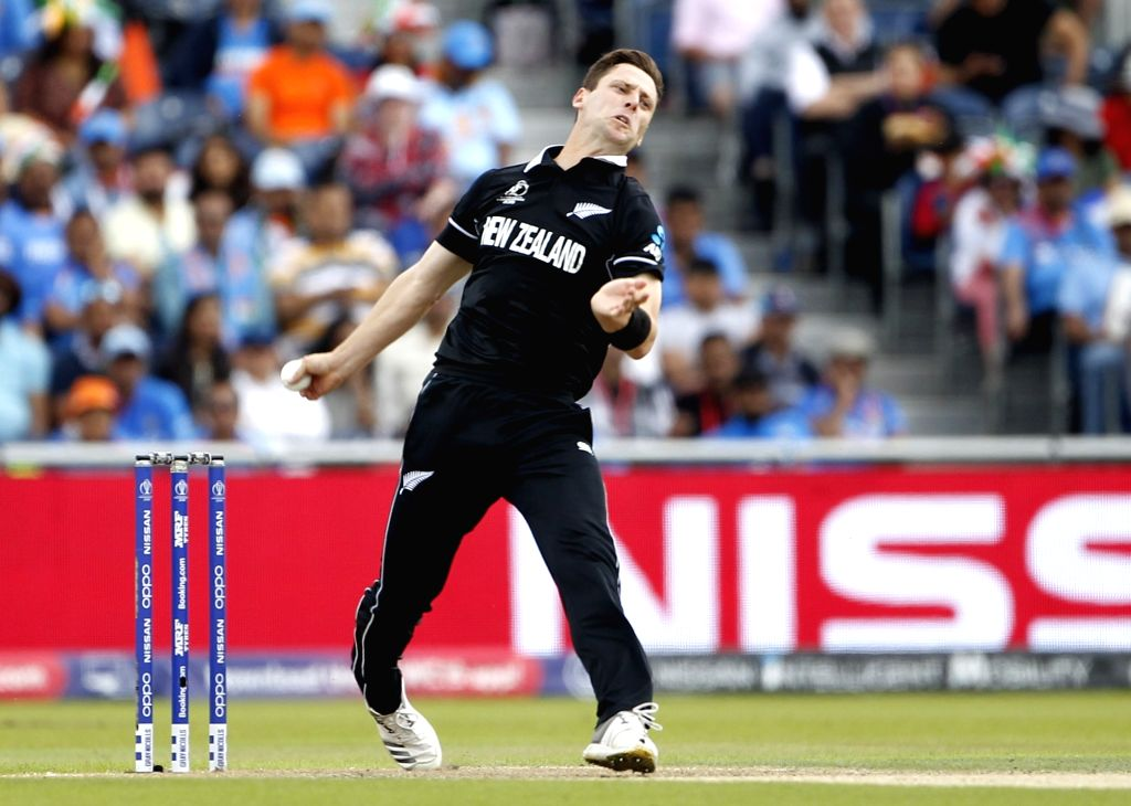 Manchester: New Zealand's Matt Henry in action during the 1st Semi-final match of 2019 World Cup between India and New Zealand at Old Trafford in Manchester, England on July 10, 2019. (Photo: Surjeet Kumar/IANS) - Surjeet Kumar