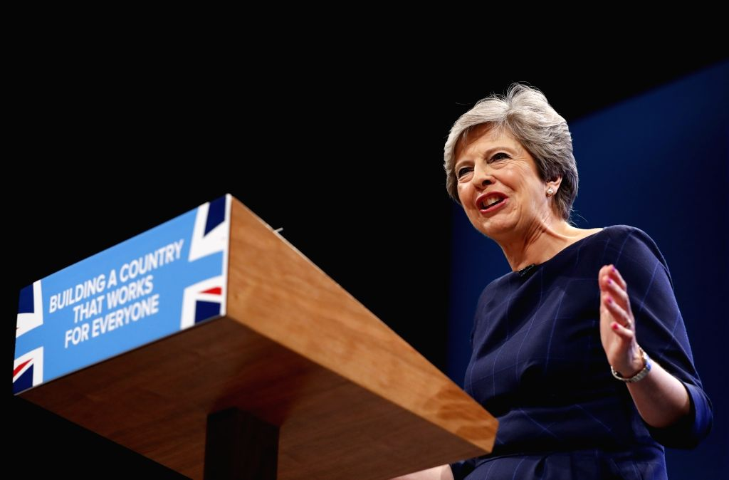 MANCHESTER, Oct. 4, 2017 - Britain's Prime Minister Theresa May delivers her keynote speech on the last day of the Conservative Party Annual Conference in Manchester, Britain on Oct. 4, 2017. - Theresa May