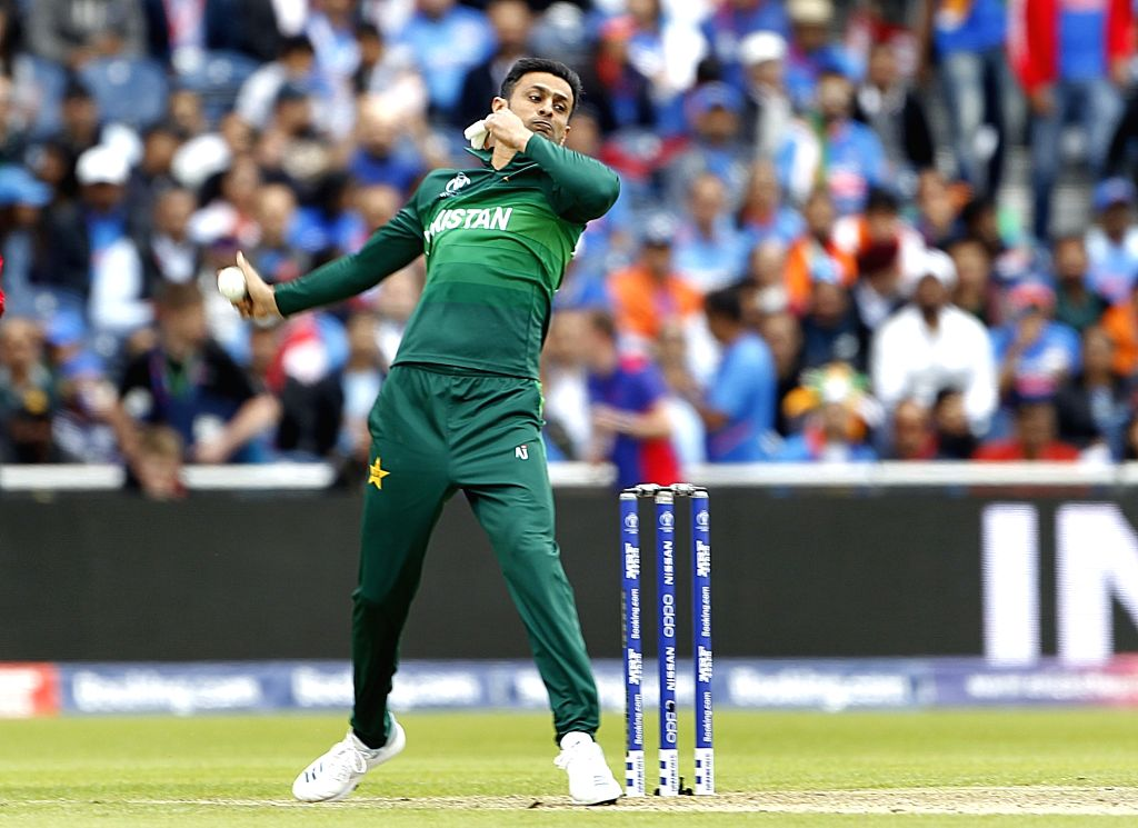 Manchester: Pakistan's Shoaib Malik in action during the 22nd match of 2019 World Cup between India and Pakistan at Old Trafford in Manchester, England on June 16, 2019. (Photo: Surjeet Yadav/IANS) - Malik and Surjeet Yadav