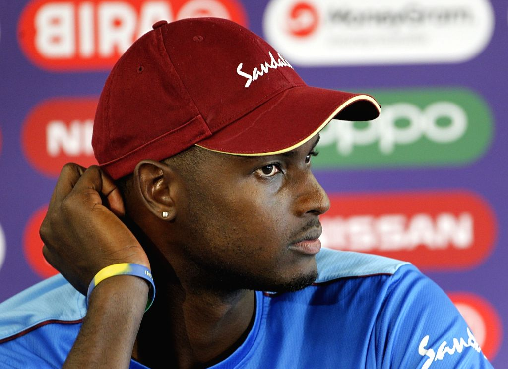 Manchester: West Indies captain Jason Holder during a press conference ahead of the World Cup 2019 match against India at Old Trafford Stadium in Manchester, England on June 26, 2019. (Photo: Surjeet Yadav/IANS) - Jason Holder and Surjeet Yadav