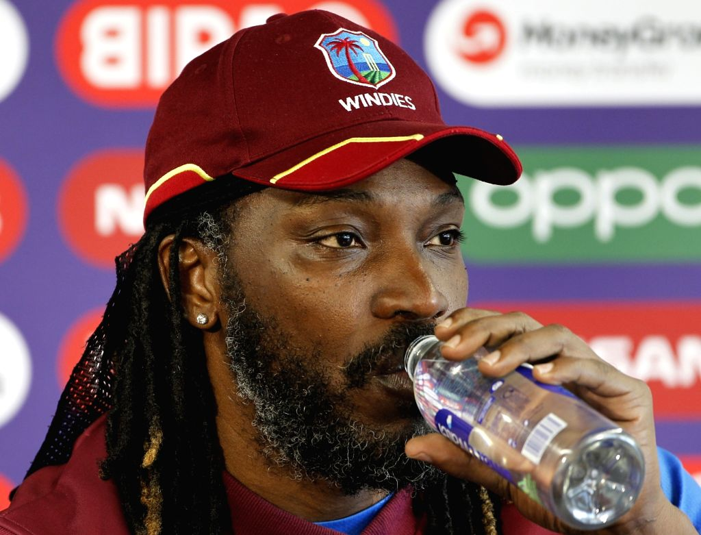 Manchester: West Indies' Chris Gayle addresses a press conference on the eve of their World Cup 2019 match against India at Old Trafford in Manchester, England on June 26, 2019.  (Photo: Surjeet Yadav/IANS) - Surjeet Yadav