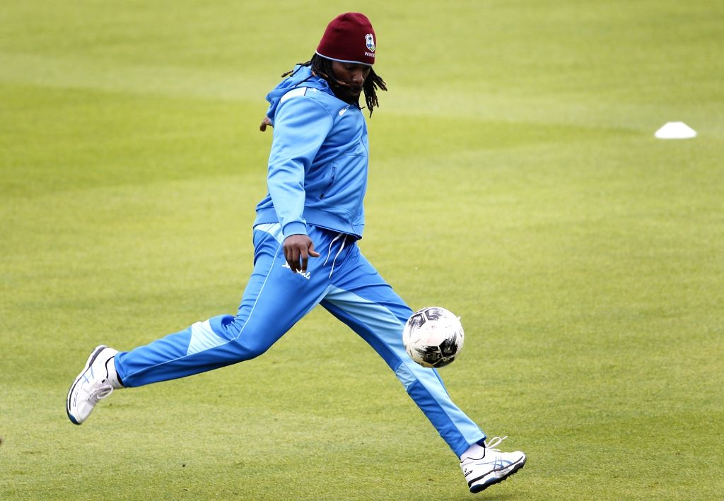Manchester: West Indies' Chris Gayle during a practice session ahead of the World Cup 2019 match against India at Old Trafford Stadium in Manchester, England on June 26, 2019. (Photo: Surjeet Yadav/IANS) - Surjeet Yadav