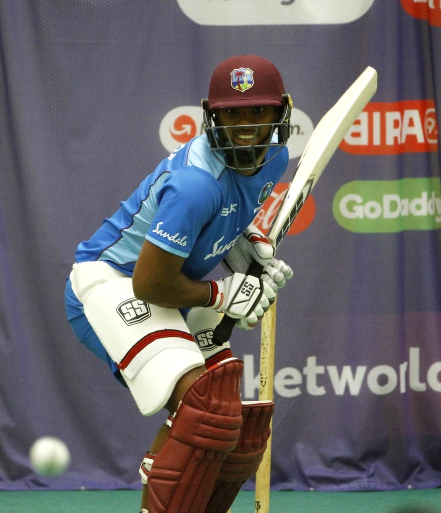 Manchester: West Indies' Nicholas Pooran during an indoor training session ahead of their World Cup 2019 match against India at Old Trafford in Manchester, England on June 25, 2019. (Photo: Surjeet Yadav/IANS) - Surjeet Yadav