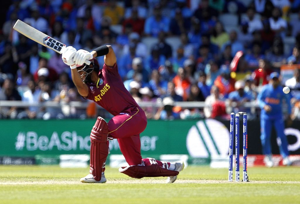 Manchester: West Indies' Shai Hope gets dismissed during World Cup 2019 match between India and West Indies at Old Trafford in Manchester, England on June 27, 2019. (Photo: Surjeet Yadav/IANS) - Surjeet Yadav