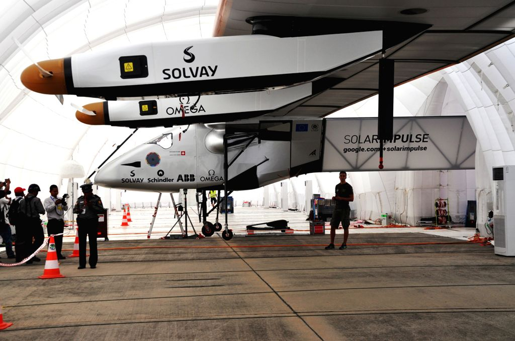 Photo taken on March 20, 2015 shows Solar Impulse 2 at Mandalay International Airport in Mandalay, Myanmar. Solar Impulse 2, a solar-powered aircraft, arrived in ...