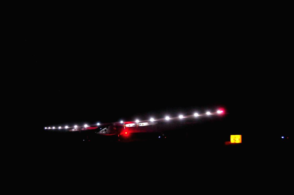 Solar Impusle 2 arrives at Mandalay International Airport in Mandalay, Myanmar, March 19, 2015. Solar Impulse 2, a solar-powered aircraft, arrived in Mandalay, ...