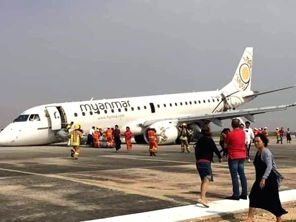 Mandalay: Myanmar Airline's Embraer E190 aircraft (ERJ-190LR) from Yangon to Mandalay which made an emergency landing after its front landing gear failed to deploy at Mandalay International Airport, on May 12, 2019. The aircraft landed with its nose