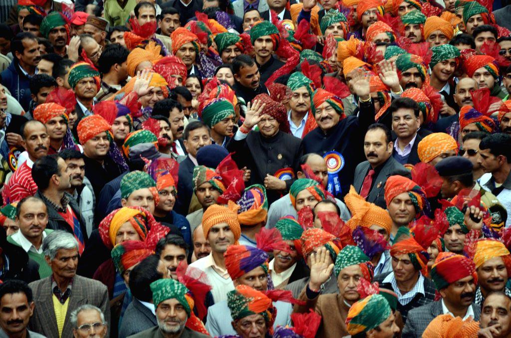 Himachal Pradesh Chief Minister Virbhadra Singh at the inauguration of the week-long Mahashivratri fair at Mandi on Feb 18, 2015. - Virbhadra Singh