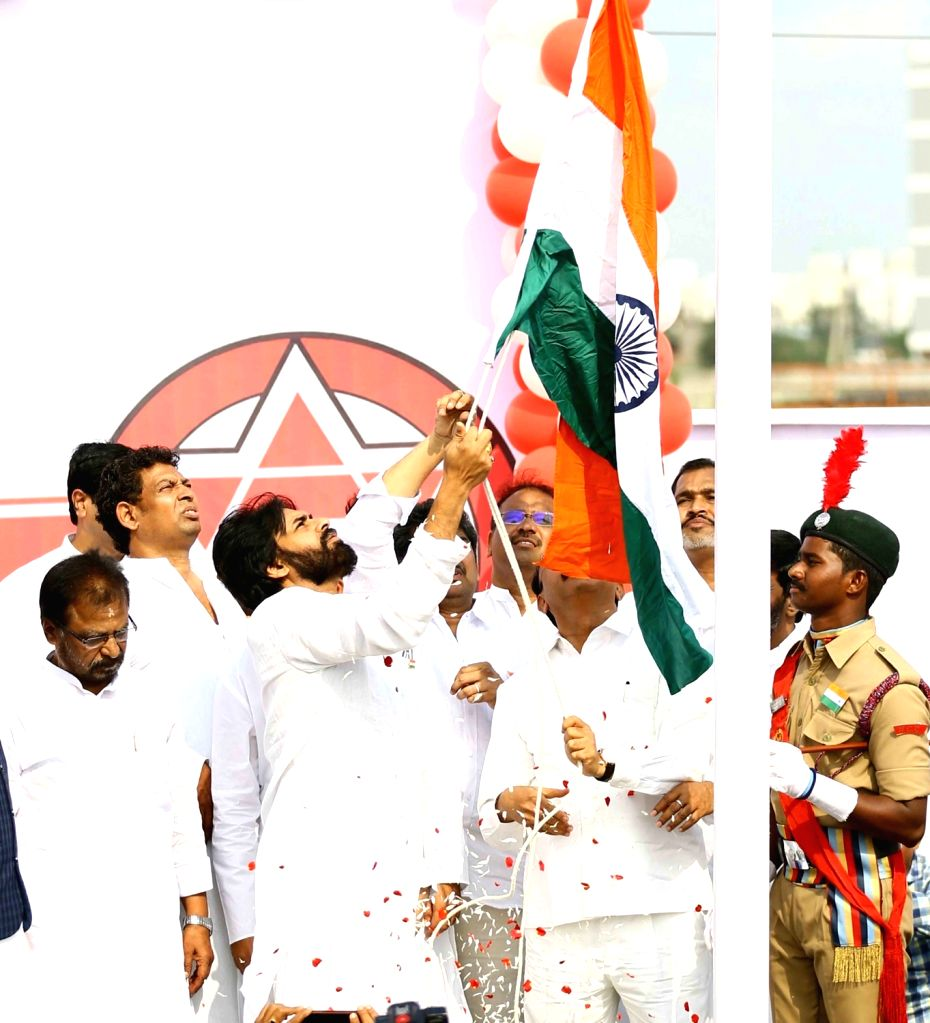 Mangalagiri: Jana Sena President Pawan Kalyan hoists the national flag on Republic Day in Andhra Pradesh's Mangalagiri, on Jan 26, 2019. (Photo: IANS)