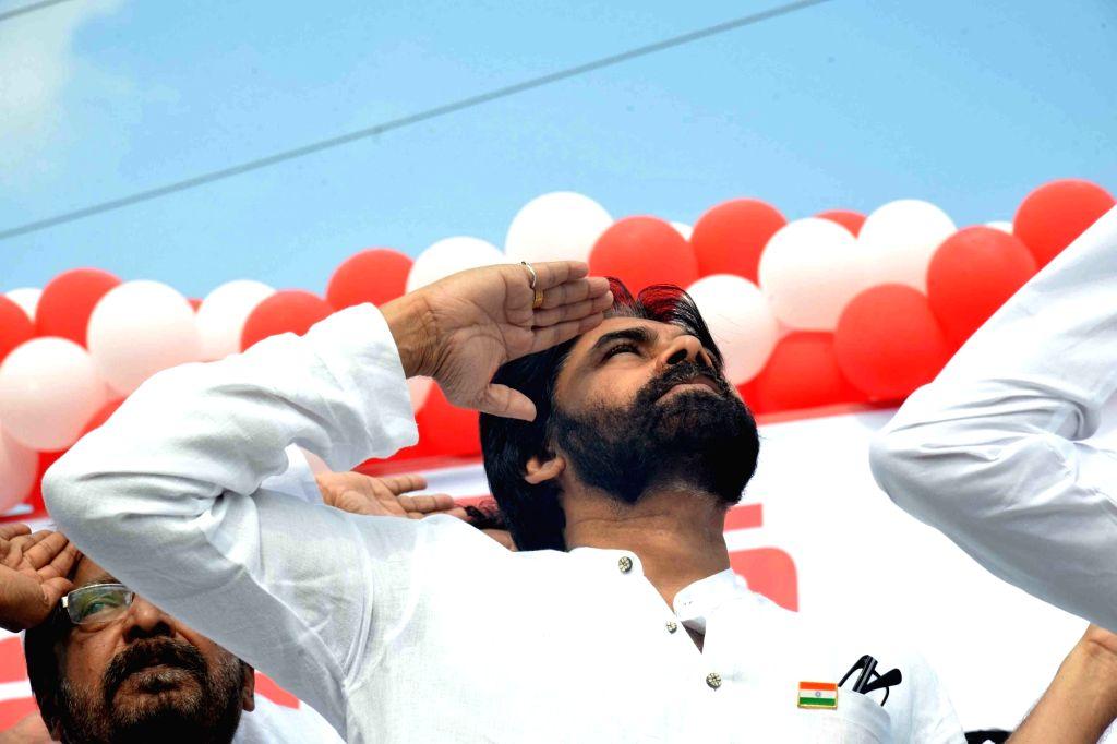 Mangalagiri: Jana Sena President Pawan Kalyan salutes the national flag during 2019 Republic Day celebrations in Andhra Pradesh's Mangalagiri, on Jan 26, 2019. (Photo: IANS)