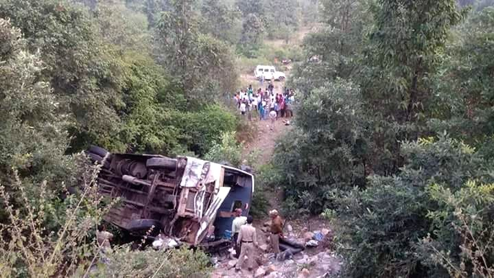 Mangled remains of the bus that fell 25-feet down from Charkhi mountain road in Satna district, Madhya Pradesh, on Nov. 16, 2015. Atleast seven persons have died and 25 others injured.