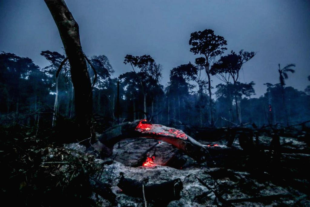MANICORE, Aug. 28, 2019 - Photo taken on Aug. 26, 2019 shows the debris after a fire in Manicore, the state of Amazonas, Brazil. BRAZIL OUT