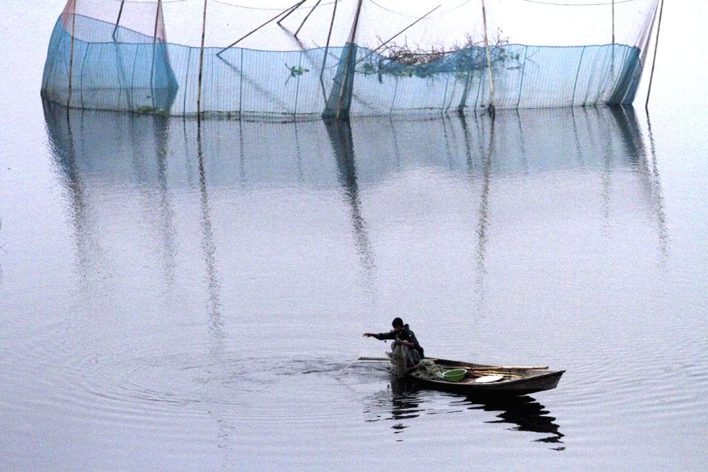 A fisherman looks for a catch in Dhaleshwari River on a winter morning in Manikganj of Bangladesh on Dec 31, 2014.