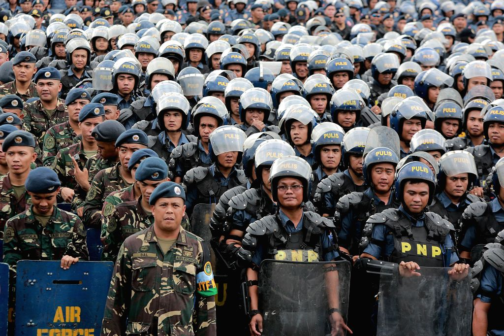 MANILA, April 23, 2017 - Uniformed personnel attend the send-off ceremony of security forces for the 30th Association of Southeast Asian Nations (ASEAN) Summit in Manila, the Philippines, April 23, ...